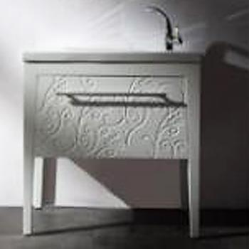 BRAVAT 白色雕花下掀古典浴櫃  MA006W-T