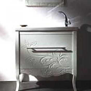 BRAVAT 白色雕花下掀浴櫃  MA017W-1T