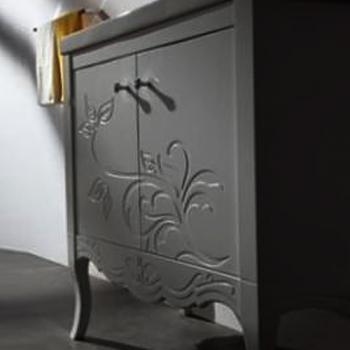 BRAVAT  白色雕花雙門浴櫃  MA017W-2T