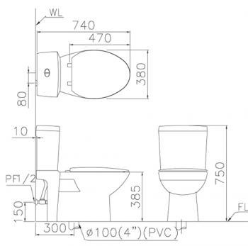 凱撒衛浴 二段式超省水馬桶 CF1240
