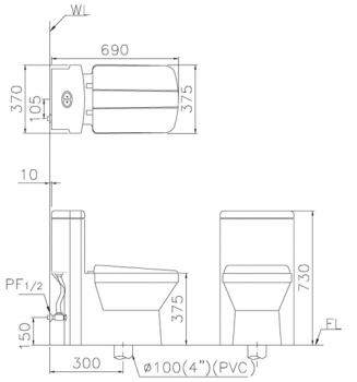 凱撒衛浴 二段式省水單體馬桶  CF1347
