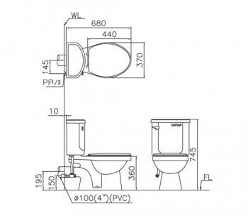 凱撒衛浴 壁排省水馬桶 CPT1332