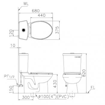 凱撒衛浴 社福用馬桶 CT1323