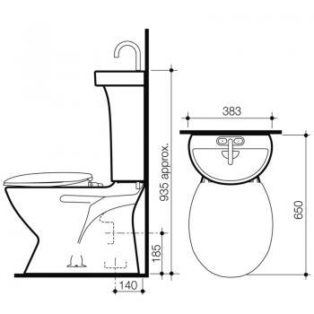 Caroma 洗手盆集成分體馬桶 Profile-977715W